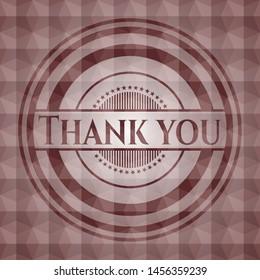 Thank you red geometric pattern emblem. Seamless.