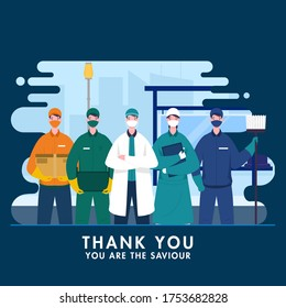 Thank You to saviour workers who work during coronavirus (covid-19) outbreak as doctor, nurse, sweeper, delivery boy on blue abstract cityscape background.