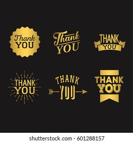 Thank You Set Of Gold Metal Badges Isolated