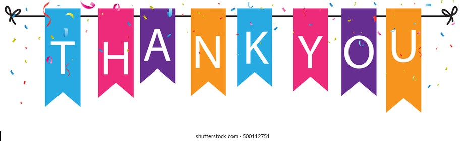 Thank you sign with colorful bunting flags and confetti background