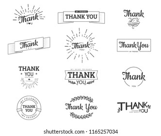 Thank you sign. Vector calligraphy design template.