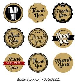 Thank You Sticker. Cardboard.