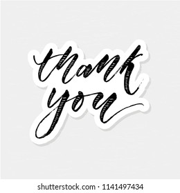 Thank you Sticker Lettering Calligraphy Vector Illustration