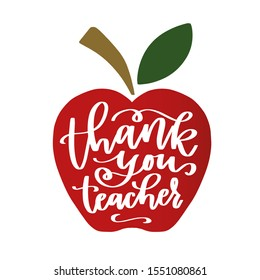 Thank you teacher iron on design for Thanksgiving last minute gift. Back to school classroom decoration with red apple silhouette.