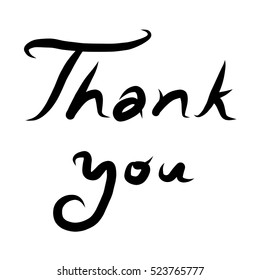 Thank you text  / cartoon vector and illustration, black and white, hand drawn, sketch style, isolated on white background.