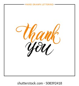 Thank you text isolated on white background, hand painted letter, vector lettering for greeting card, poster, banner, print, handwritten calligraphy