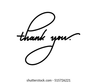 Thank you text lettering by modern hand writing calligraphic on white background in vector illustration. This concept design for thank you card, banner or advertising