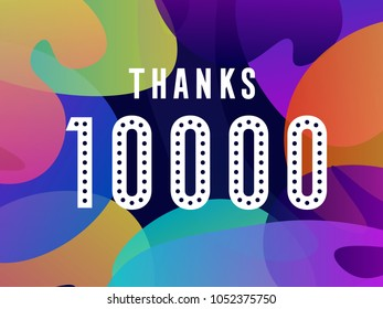 thank you. thanks. 10000 followers card for celebrating many followers in social networks black background
