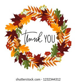 Thank you. Thanksgiving hand lettering quote in autumn leaves wreath. Handwritten calligraphy in vector wreath framing.