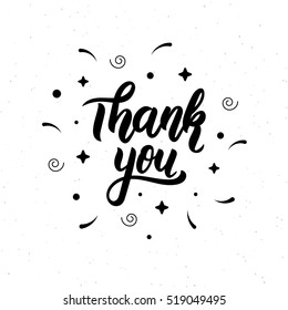 Thank you. Trendy hand lettering quote, fashion graphics, art print for posters and greeting cards design. Calligraphic isolated quote in black ink. Vector illustration