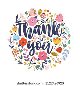 Thank you vector greeting card or postcard. Floral background