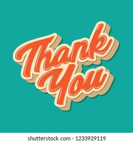 Thank You vector illustration in red and yellow colour with green background.