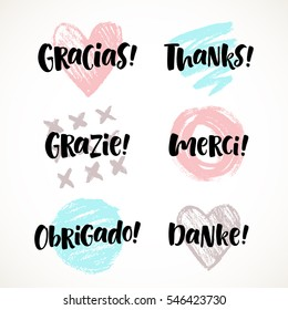 Thank you vector lettering in different languages: english, french, german, spanish, italian, portuguese. Modern brush calligraphy for invitation and greeting card, t-shirt, prints and posters