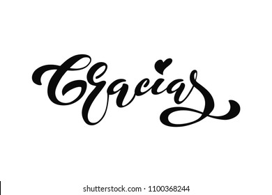 Thank you vector lettering in spanish: Gracias. Modern brush calligraphy. Hand drawn design elements. Logos and emblems for invitation, greeting card, t-shirt. Vector illustration.