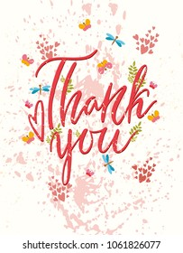 Thank you. Vector motivational card. Greeting card.