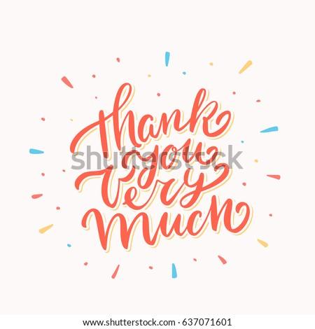 Thank You Very Much Lettering Stockvector Rechtenvrij 637071601