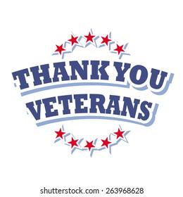 thank you veterans logo isolated on white background vector illustration