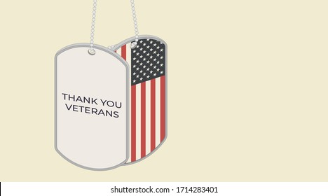 Thank you veterans. USA symbol. Two military dog tag tokens of American army with the inscription and flag of the United States. Isometric vector illustration for Veterans Day 11 November