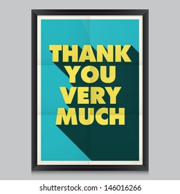 Thank you, vintage retro poster background with paper texture, frame and colors editable.