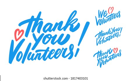 Thank you, volunteers. We love volunteers. Vector lettering set.