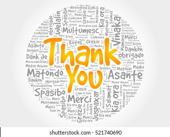 Thank You Word Cloud background, all languages, multilingual for education or thanksgiving day
