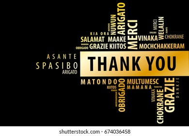 Thank You Word Cloud background, multilingual for education or thanksgiving day