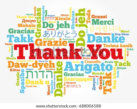 thank you word cloud different languages のベクター画像素材