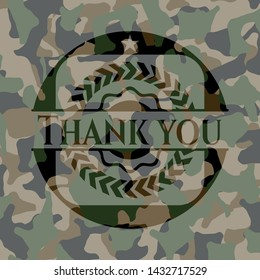 Thank you written on a camouflage texture. Vector Illustration. Detailed.