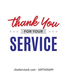 Thank You For Your Service Veterans Memorial Day Holiday Vector Text Background