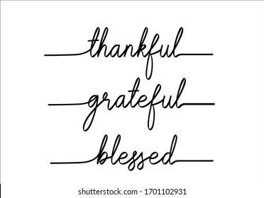 thankful grateful blessed hand writting rope lettering fashion style print pattern positive motivation motivational quote social media post and stories