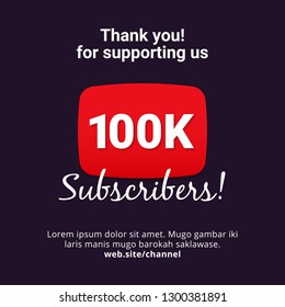 Thanks 100k subscribers celebration background design. 100 thousands subscriber vector template for web post or social media story