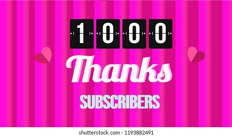 Thanks 1K Pink Vector Banner
