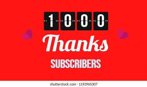Thanks 1K Subscribers Banner Vector Illustration