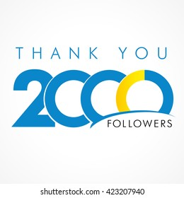 Thanks 2000 logotype. Congratulating coloured networking template, net friends image, %, -% percent off discount. Round isolated abstract picture and text. Following concept for webpage management.