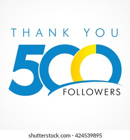 Thanks 500 logotype. Congratulating coloured networking template, net friends image, %, -% percent off discount. Graphic isolated abstract picture and text. Following concept for webpage management.