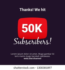 Thanks 50k subscribers celebration background design. 50 thousands subscriber vector template for web post or social media story