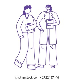 thanks doctors nurses, female physician and nurse with protective masks vector illustration