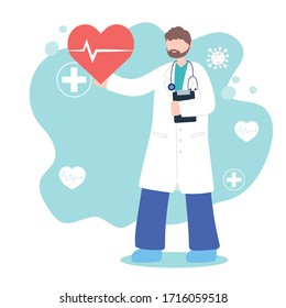 thanks, doctors, nurses, physician with heartbeat medical help vector illustration