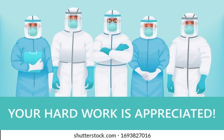 Thanks to the doctors and nurses. Your hard work is appreciated. Medical personnel in protective suits, medical glasses and masks. The fight against coronavirus. Vector illustration in cartoon style