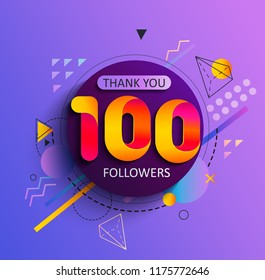 Thanks for the first 100 followers. Thank you followers congratulation card. Vector illustration for Social Networks. Web user or blogger celebrates a large number of subscribers.
