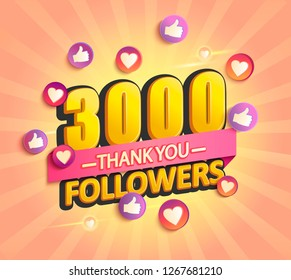 Thanks for the first 3000 followers banner.Thank you followers congratulation card. Vector illustration for Social Networks. Web user or blogger celebrates and tweets a large number of subscribers.