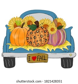 Thanks Giving - A colorful pumpkins in blue Classic truck isolated on white background.