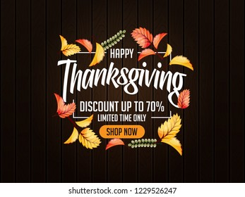 thanks giving design illustration with 3d realistic leaves