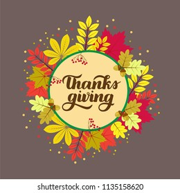 Thanks giving. Poster, card, label, banner design.Vector illustration EPS10.