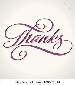 THANKS hand lettering -- custom handmade calligraphy, vector (eps8)