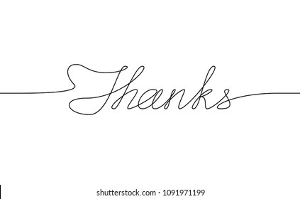 THANKS handwritten inscription. Hand drawn lettering. alligraphy. One line drawing of phrase. Vector illustration
