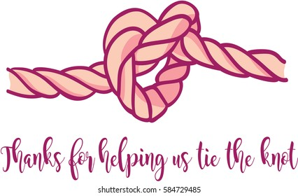 thanks for helping us tie the knot wedding thank-you card