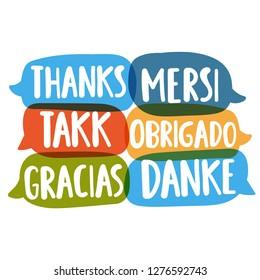 Thanks, mersi, takk, obrigado, gracias, danke. Different languages. Translation concept. Hand drawn vector icon illustrations on white background.