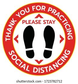 Vielen Dank für die Ausübung Social Distancing Floor Aufkleber Sign, Social Diststancing. Fußabdruck-Schild. Epidemic-Coronavirus-Schutz.-Vektorgrafik