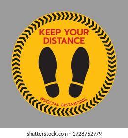 Vielen Dank für die Ausübung sozialen Distancing Floor Aufkleber Zeichen, soziale Distanzierung. Fußabdruck-Zeichen. Halten Sie den Abstand zwischen 2 m oder 1-2 m. Epidemiedemie mit Coronavirus-Schutz.-Vector-Veranschaulichung